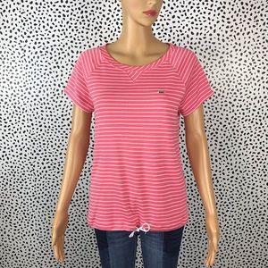 Lacoste women's pink striped tee size 40